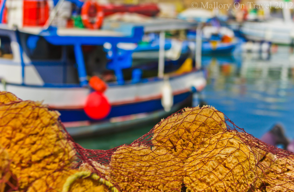 Sponges in the fishing harbour of Heraklion, on the Greek island of Crete on Mallory on Travel adventure photography