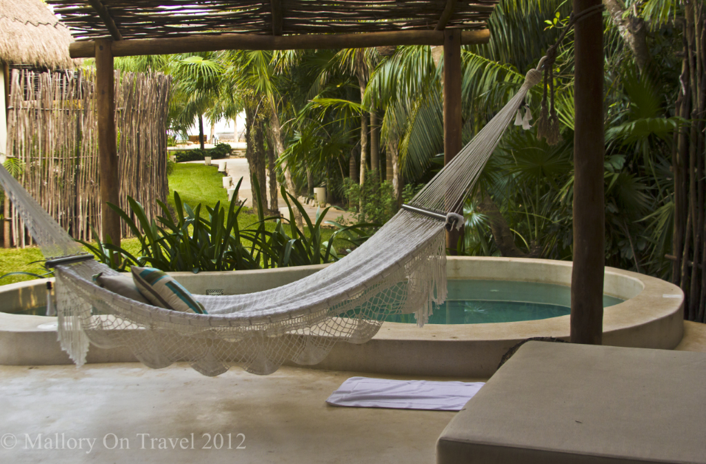 Poolside hammock in the Riviera Maya in Mexico  on Mallory on Travel adventure photography