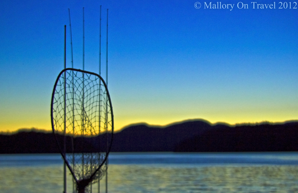 Salmon fishing utensils at sunset in the Great Bear Rainforest, British Columbia Canada on Mallory on Travel adventure photography Iain Mallory-300-156