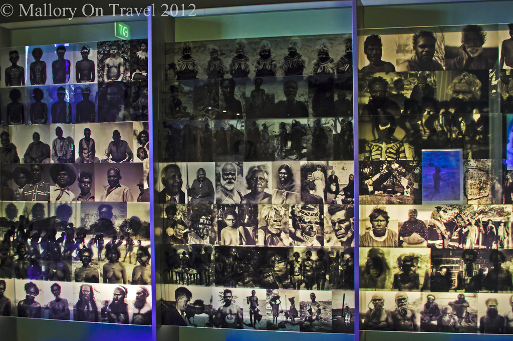 Indigenous Culture; Aboriginal photographic display at the entrance to the South Australia Museum in Adelaide on Mallory on Travel adventure photography Iain Mallory-300-60