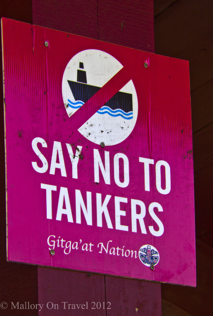 "A ""No Tankers"" sign in Hartley Bay. Gitga'ga First Nation village in the Great Bear Rainforest, British Columbia Canada on Mallory on Travel adventure photography"