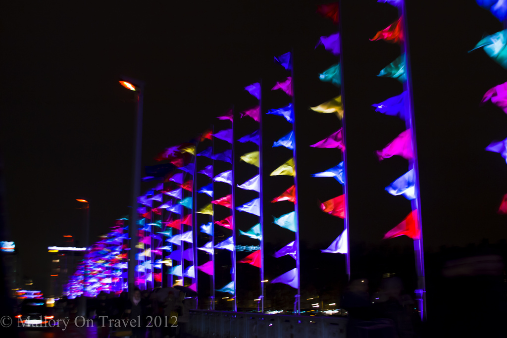 La Fayette bridge of flags at Lyon Festival of Light in the Rhône Alpes region of France on Mallory on Travel adventure photography Iain Mallory-300-7