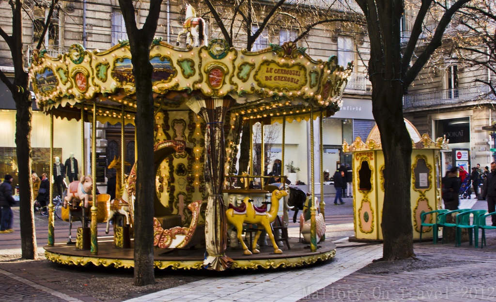 A small Christmas carousel in Grenoble in the Rhône-Alpes region of France Iain Mallory-300-48