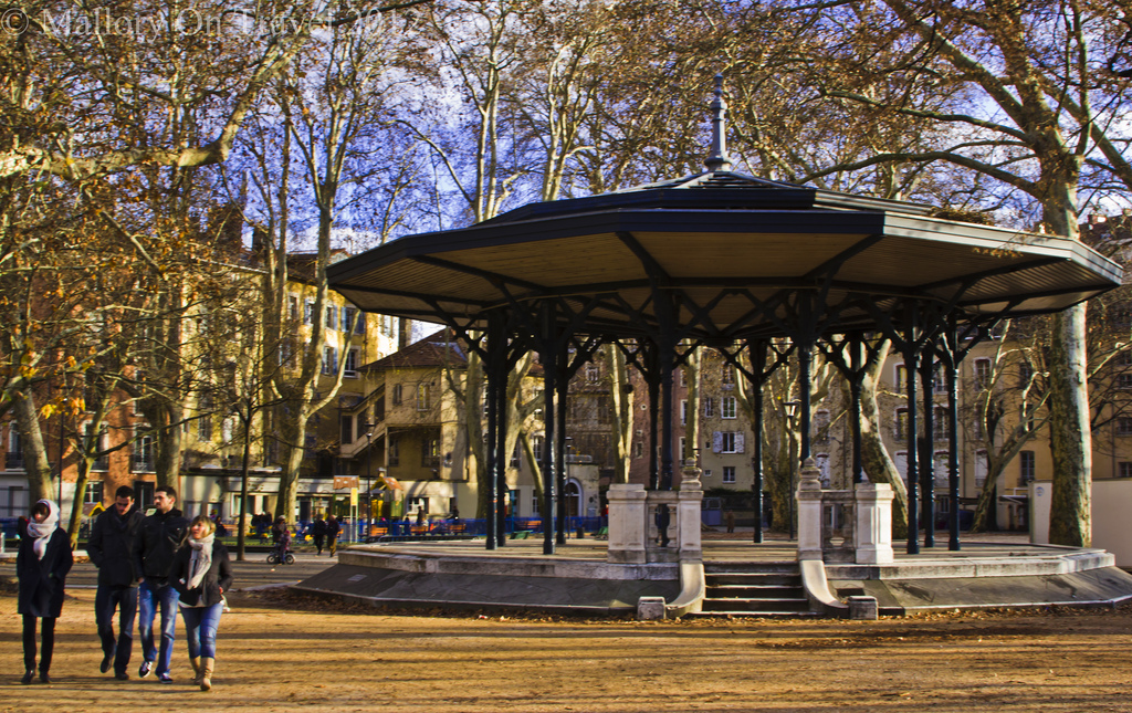 Alpine park and bandstand in Grenoble in the Rhône Alpes region of France on Mallory on Travel adventure photography Iain Mallory-300-47
