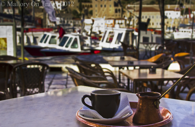 Café culture on the Saronic Island of Hydra of the coast of Athens in the Aegean Sea, Greece on Mallory on Travel, adventure, photography