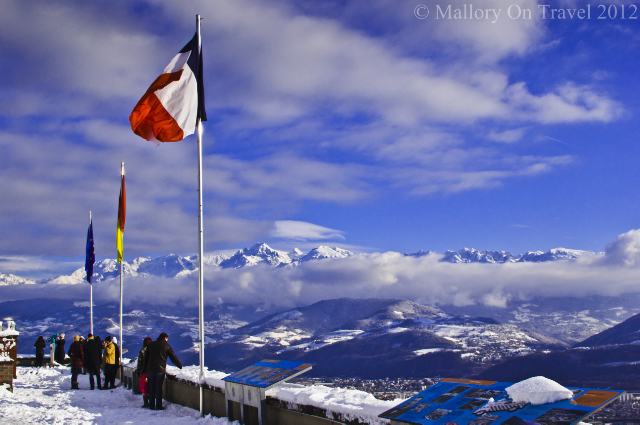 Flying the flag on La Bastille in the alpine city of Grenoble in the French Rhône Alpes  on Mallory on Travel adventure photography