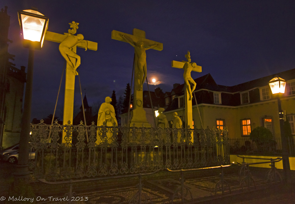 Sightseeing surprises; Moonlit crucifixes in a church in Xanten, North Rhine-Westphalia, Germany on Mallory on Travel, adventure, adventure travel, photography Iain Mallory-300-9 (2)