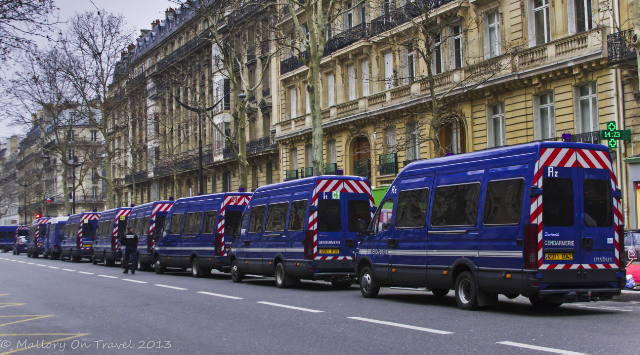 Genadarmerie fleet of vehicles for a peaceful protest at the Trocadero and Champs d'Elysees in Paris, France on Mallory on Travel, adventure, adventure travel, photography Iain Mallory-300-17 gendarmes