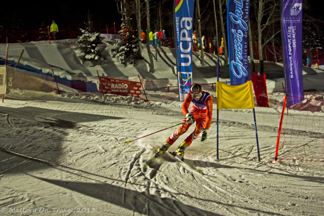 The final turn for this competitor Chamonix, in the Rhone-Alpes region of France welcomes the Telemark Skiing World Cup Night Sprint at the Planards on Mallory on Travel, adventure, adventure travel, photography Iain Mallory-300-2 telemark_chamonix