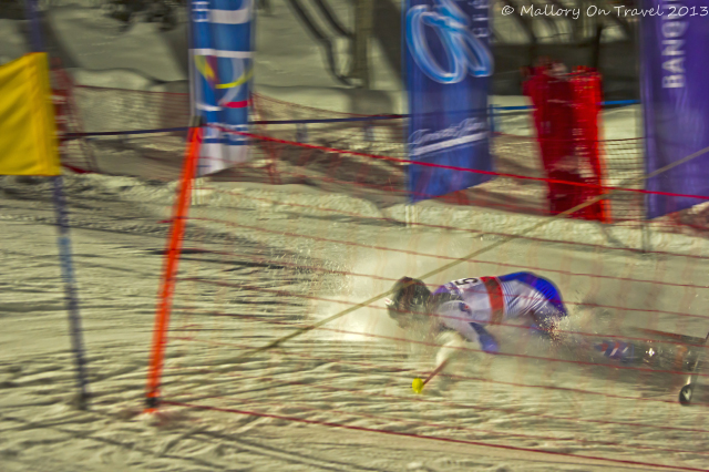 An unfortunate faller at Chamonix, in the Rhone-Alpes region of France welcomes the Telemark Skiing World Cup Night Sprint at the Planards on Mallory on Travel, adventure, adventure travel, photography Iain Mallory-300-8. telemark_skier