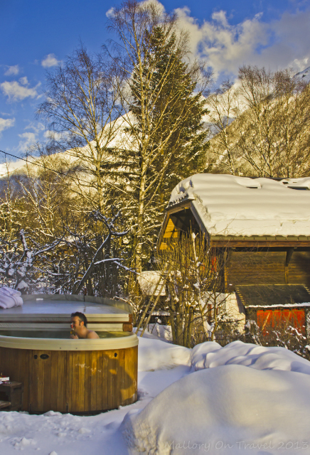 Hot-tub outside the Chalet Les Mazots surrounded by mountains in Chamonix, France on Mallory on Travel, adventure, adventure travel, photography Iain Mallory-300-84