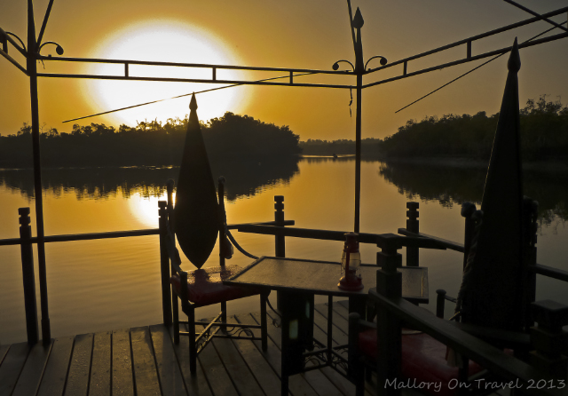 Sunrise over the mangrove swamps at Mandina Lodges in the Makasutu Forest in The Gambia on Mallory on Travel, adventure, adventure travel, photography Iain Mallory-300