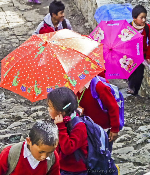 Children of Nepal returning from school in Phanding in the Khumbu region on the Everest base camp route on Mallory on Travel, adventure, adventure travel, photography