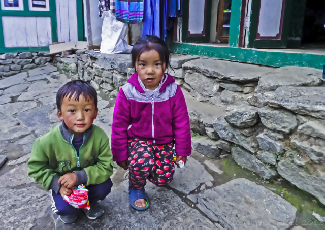 Children in Namche Bazaar Nepal in the Khumbu region in the Himalaya on Mallory on Travel, adventure, adventure travel, photography