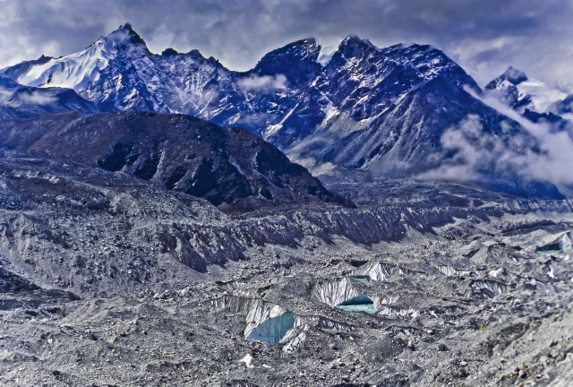 Moraine from the retreating Khumbu glacier at Mount Everest base camp in the Nepal region of the Himalaya  adventure, adventure travel, photography on Mallory on Travel