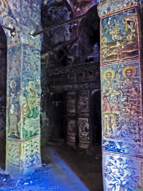 Frescos inside the Moni Lykaki in the Viros Gorge near Kardamili in the Peloponnese, Greece on Mallory on Travel adventure, adventure travel, photography Iain Mallory-300-33