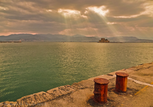 Thanksgiving; Bourtzi Venetian fortress in the port of Nafplio in the Peloponnese region of Greece on Mallory on Travel adventure, adventure travel Iain Mallory-300 bourtzi_fortress
