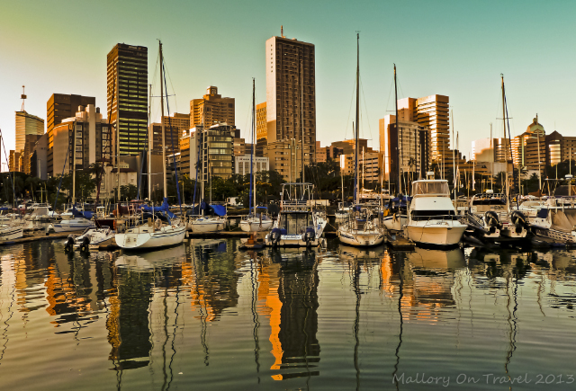 A reflected view of Durban in the KwaZulu-Natal, South Africa on Mallory on Travel adventure, adventure travel, photography Iain Mallory-300-1