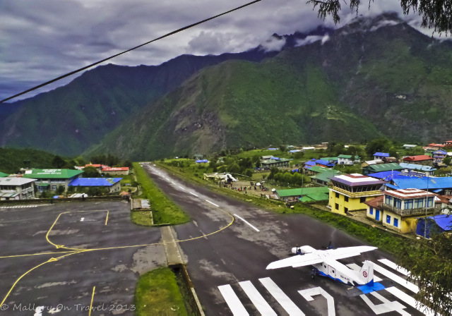 Budget travel options; Lukla airport in the Khumbu region of Nepal, in the Himalaya on Mallory on Travel adventure, adventure travel, photography Iain Mallory-300-3_lukla_airport