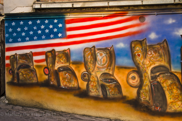 American wall artistry at the Cadillac Ranch American themed diner in the village of Pesche, Molise in Italy on Mallory on Travel adventure, adventure travel, photography Iain Mallory-300-196_street_art