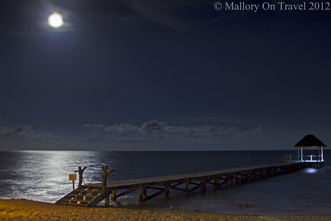The moonlit jetty at Viceroy resort in the Rivieran Maya, Mexico on the coast of the Caribbean