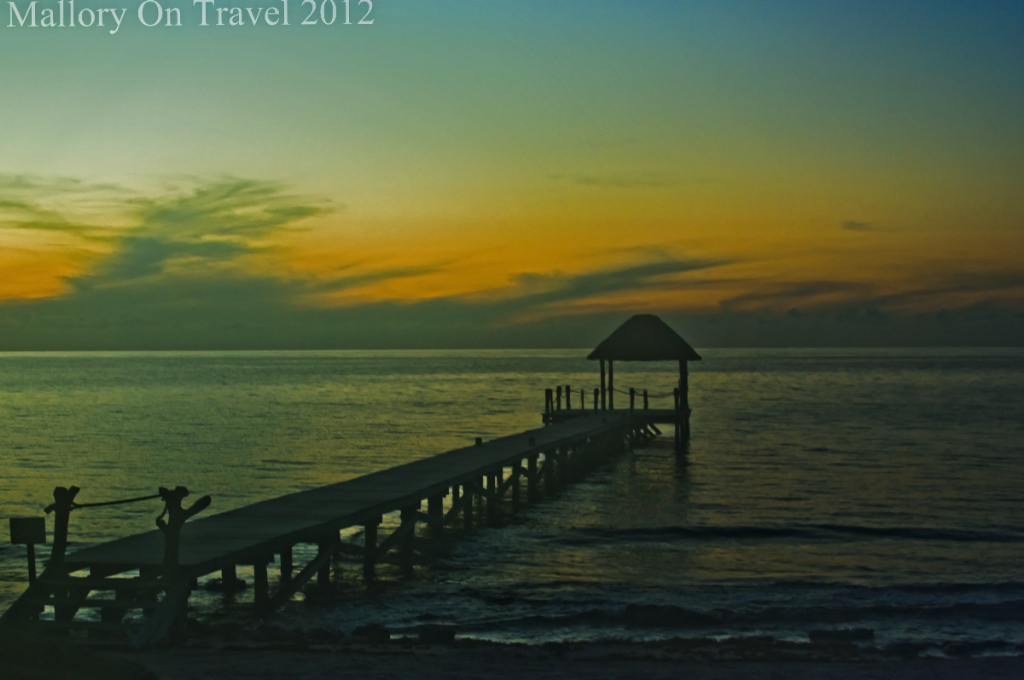 The Viceroy resort jetty at sunrise, Playa del Carmel, Riviera Maya in Mexico on Mallory on Travel adventure photography