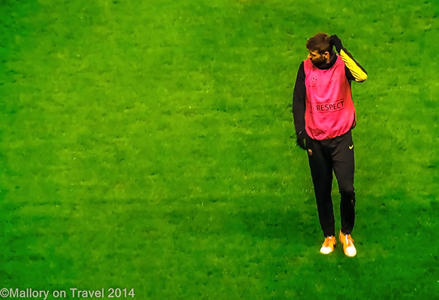 Gerard Pique of FC Barcelona at the Etihad Stadium, Manchester on Mallory on Travel adventure, adventure travel, photography