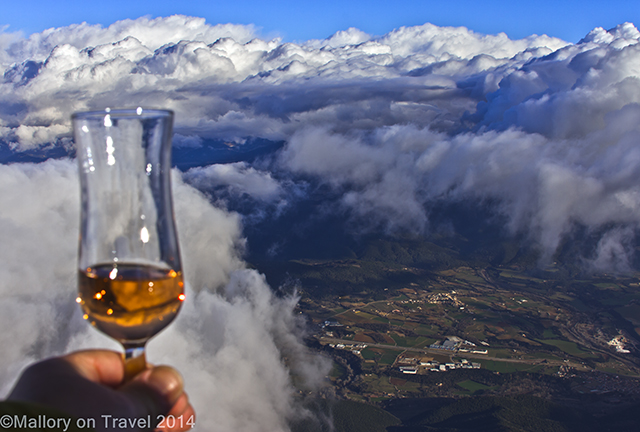 Toasting with cava in the sky on a hot air balloon in La Garrotxa, volcanic region of the Spanish Pyrenees on Mallory on Travel adventure, adventure travel, photography Iain Mallory-300-32 spanish_pyrenees