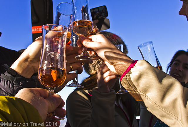 Toasting with cava in the sky on a hot air balloon in La Garrotxa, volcanic region of the Catalan Pyrenees, Spain on Mallory on Travel adventure, adventure travel, photography Iain Mallory-300-33 skyhigh_toast