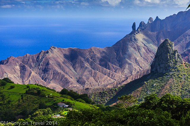 View of Lot and Lot's Wife rocks on St Helena in the South Atlantic on Mallory on Travel adventure, adventure travel, photography Iain Mallory-300-24 st-helena