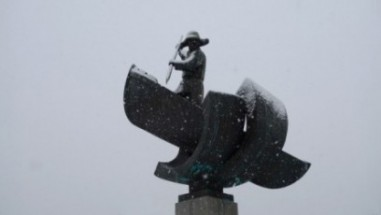 Whaling Statue in TromsØ, Norway on Mallory on Travel adventure, adventure travel, photography