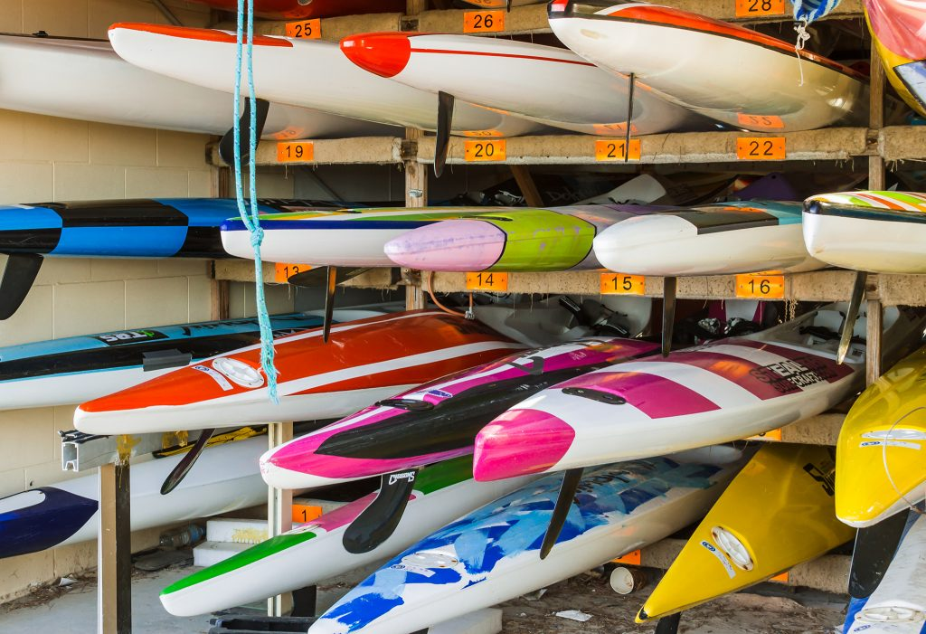 Colourful kayaks at Kurrawa Surf Club, Broadbeach on Queensland's Gold Coast, Australia Iain Mallory-300-55 boatshed