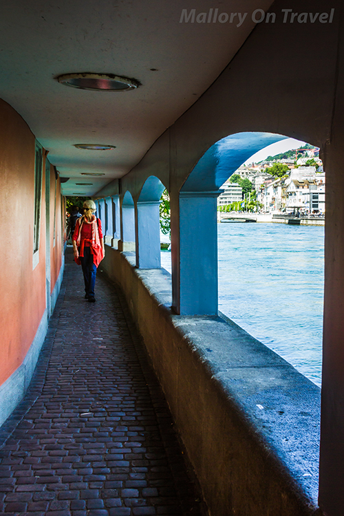 Covered walkway along the Limmat River in Zurich, Switzerland on Mallory on Travel adventure, adventure travel, photography Iain Mallory-300-30 limmat_river