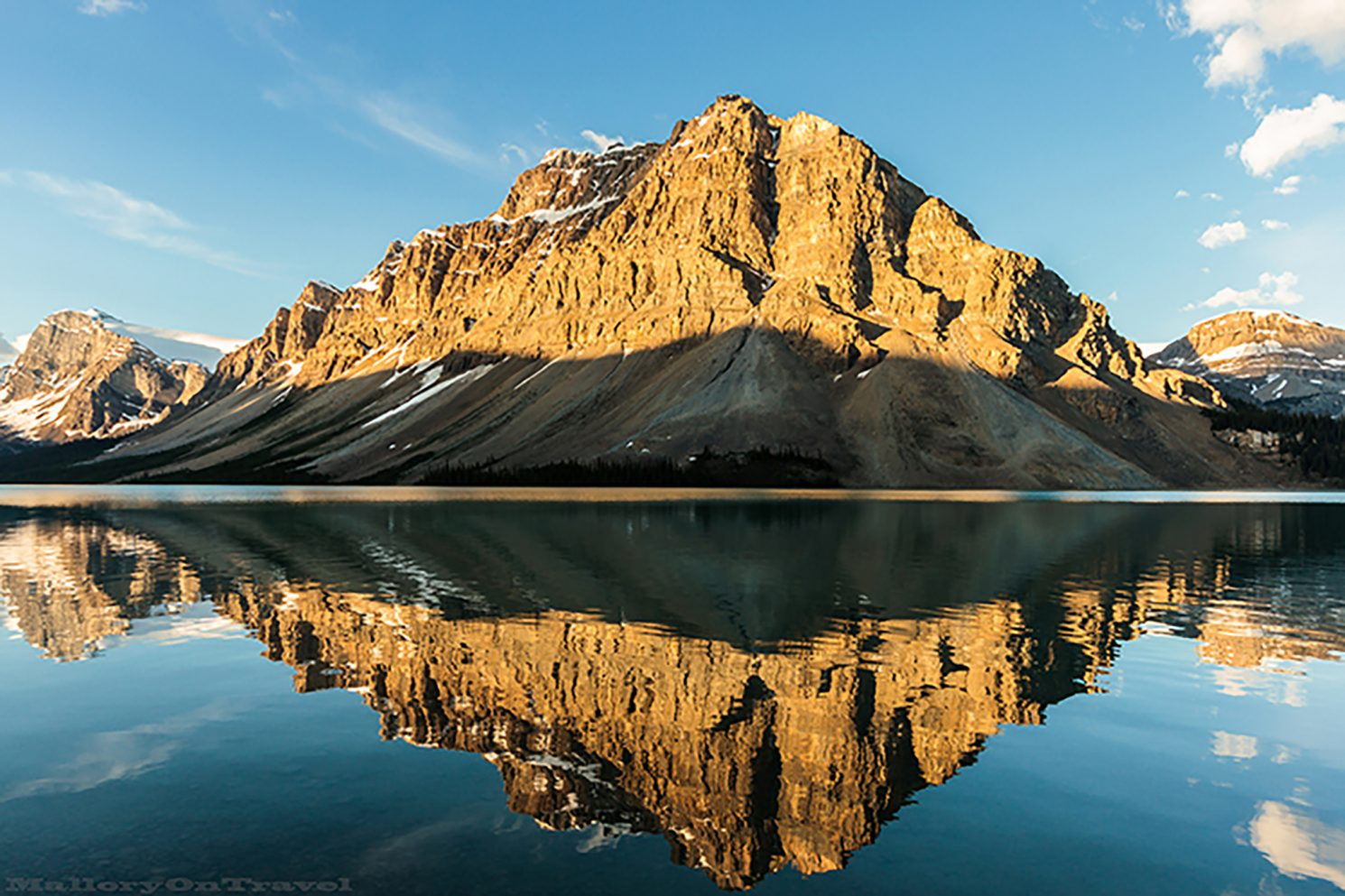 Still water reflections in Bow Lake, Alberta in the Canadian Rocky Mountains of Canada on Mallory on Travel adventure travel, photography, travel iain_mallory_can1401201 bow_lake