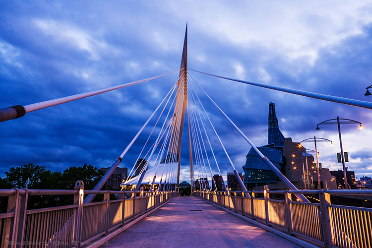 The Provencher Bridge, and Canadian Museum of Human Rights, Winnipeg, Manitoba in Canada  on Mallory on Travel adventure, adventure travel, photography Iain Mallory-253 provencher_bridge