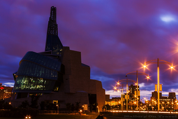 The Canadian Museum of Human Rights in Winnipeg, Manitoba, Canada on Mallory on Travel adventure, adventure travel, photography Iain Mallory-263 cmhr_night