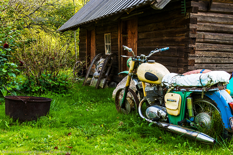 Disused motorbike on Kihnu, Estonia on Mallory on Travel adventure, adventure travel, photography Iain_Mallory_Est1402564 kihnu_motorbike