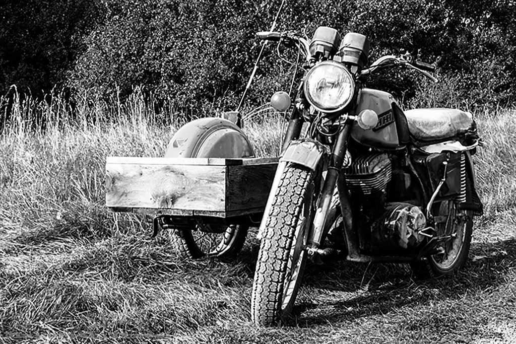 Motorbike and sidecar on the island of Kihnu, in Estonia, one of the Baltic States on Mallory on Travel adventure, adventure travel, photography Iain_Mallory_Est1402588