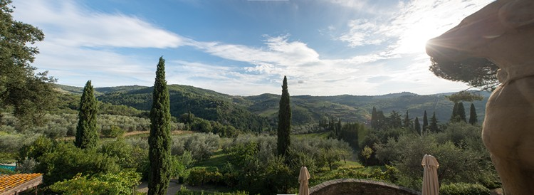 Panoramic photograph of a village in Tuscany, Italy taken taken on a Nikon D4 from RAW a print quality image suitable for traditional media printing for newspapers or magazine on Mallory on Travel adventure, adventure travel, photography