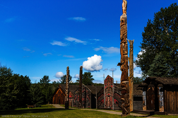 The totems, and clan lodges of the Ksan Historical Village, and Museum culture and heritage interpretation centre of the Gitxsan Nation in the Hazeltons, British Columbia, Canada on Mallory on Travel adventure, adventure travel, photographyIain Mallory-4 ksan_village