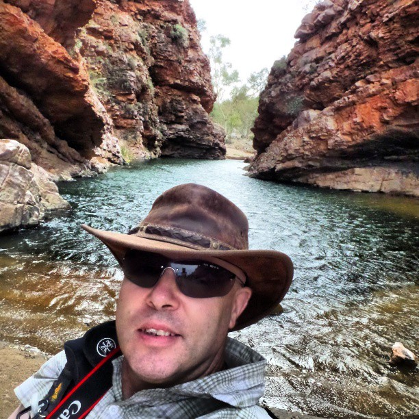 Iain Mallory selfie in Serpentine Gorge on the Larapinta Trail, the Northern Territory, Australia  on Mallory on Travel adventure, adventure travel, photography
