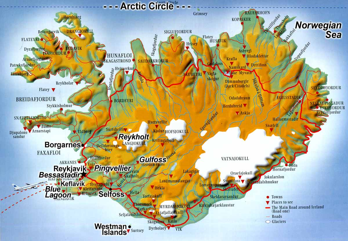 Travel to iceland arctic winter driving map of the arctic island of island showing the circular route n1 which allows a circular publicscrutiny Gallery