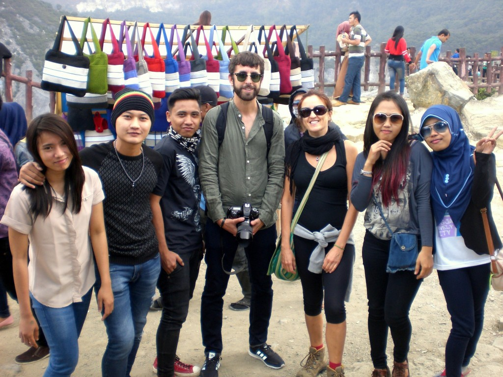 Claudia and the gang at Tangkuban Perahu volcanic crater Indonesia on Mallory on Travel adventure travel, photography, travel