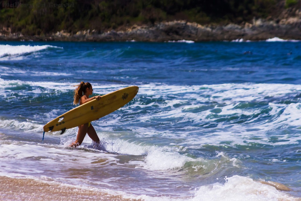 Surfer girl at San Francisco, San Pancho near Puerto Vallarta on the Pacific coast of Mexico on Mallory on Travel adventure travel, photography, travel Iain_Mallory_Greece16826
