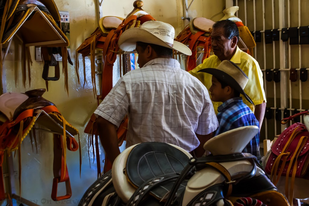 Father and son saddle shopping in a town near Puerto Vallarta in the Riviera Nayarit, Mexico on Mallory on Travel adventure travel, photography, travel Iain_Mallory_Mex17177