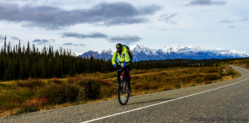 Unicyclist Zero Point Sid on the Alaska Highway heading towards Haines Junction in The Yukon, Canada on Mallory on Travel adventure travel, photography, travel Iain_Mallory_Yukon1412573