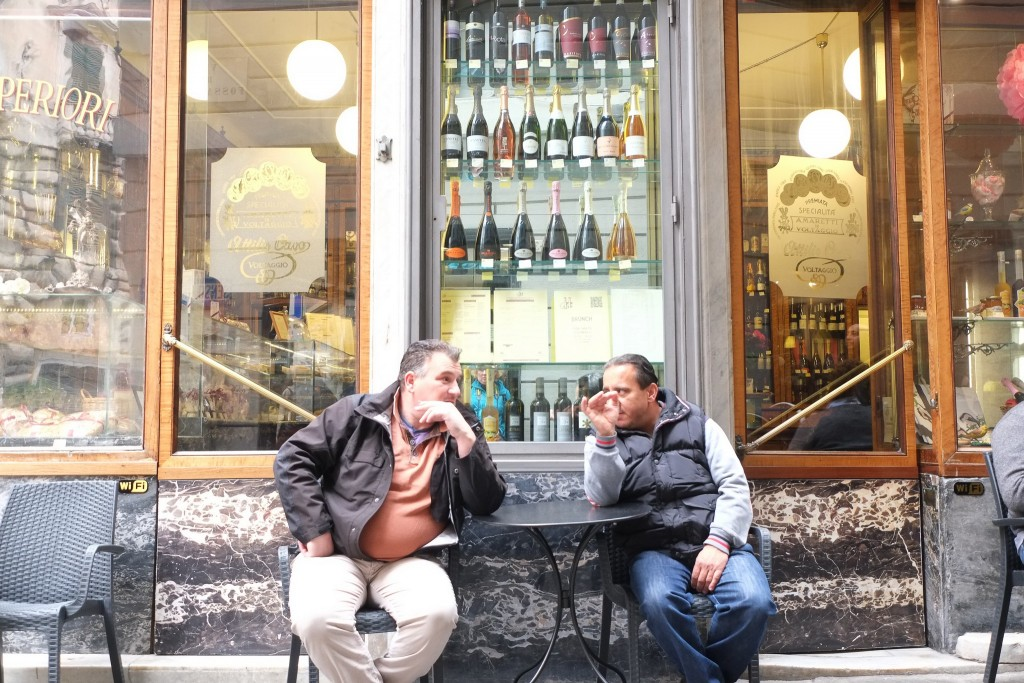 Italian locals outside a coffee shop and restaurant in Genoa in Liguria, Italy on Mallory on Travel adventure travel, photography, travel Liguria 2015-143