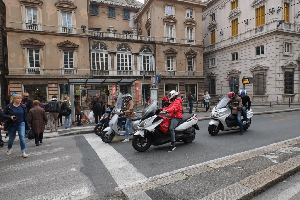 Scooters are a popular form of transport in Genoa, Liguria in Italy on Mallory on Travel adventure travel, photography, travel Liguria 2015-9