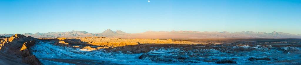 Photography tips; panorama of Lunar Valley (Valle de la Luna) , Atacama Desert in Chile on Mallory on Travel adventure travel, photography, travel IainMallory_Chile_9266-Pano