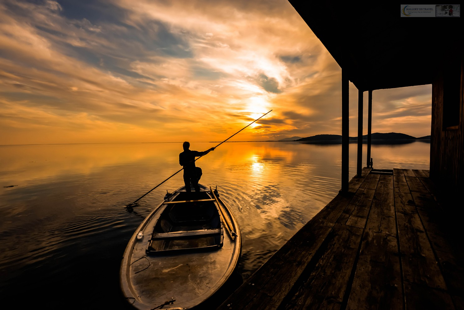 Stunning sunset and silhouetted boat fisherman on Messolonghi lagoons in western Greece on Mallory on Travel adventure travel, photography, travel Iain Mallory Messolonghi_8361-140